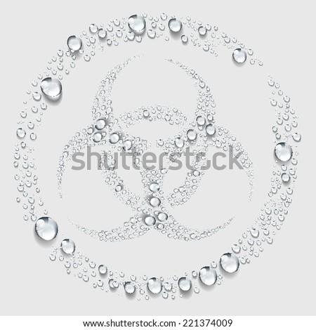 Biohazard symbol sign , Transparent water drop vector - stock vector