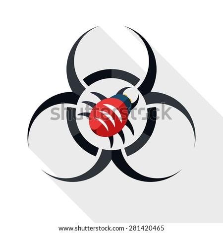 Biohazard virus icon with long shadow on white background - stock vector