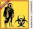 Biohazard warning on yellow sign - stock vector