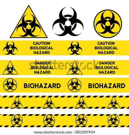 Biological Hazard Signs Seamless Warning Tapes Stock Vector