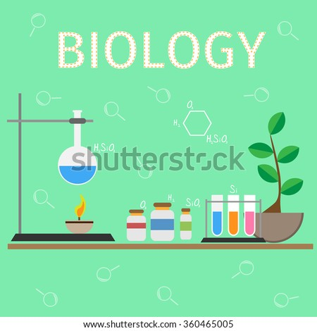 Biology research vector workspace and science equipment concept. - stock vector