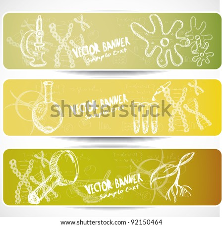 Biology web banners - stock vector