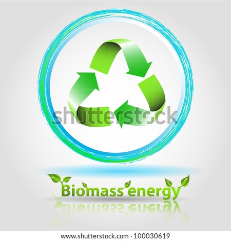 biomass energy illustration with renewable arrow and text with reflect - stock vector