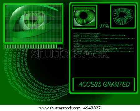 Biometrics: eye being scanned before entry (vector)