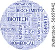 BIOTECH. Word collage on white background. Illustration with different association terms. - stock vector