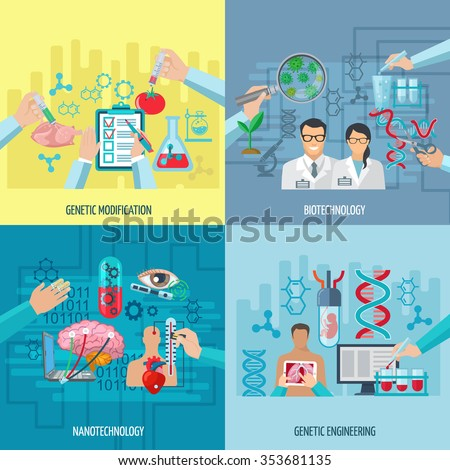 Biotechnology icons concept composition of genetic engineering nanotechnology and genetic modification square elements flat vector illustration      - stock vector