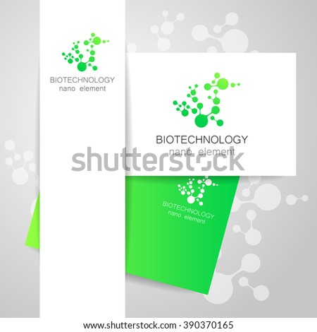 Biotechnology. Symbol molecule. Vector logo. Nanotechnology development. Presentation of corporate identity for the medical industry, science, modern technologies.  - stock vector