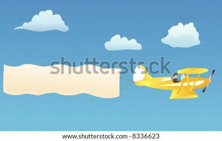 Biplane hauling blank advertisement banner to put your own words on