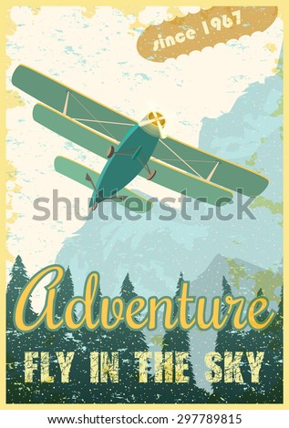 Biplane on the background of the forest and mountains, retro poster. Ventage vector - stock vector