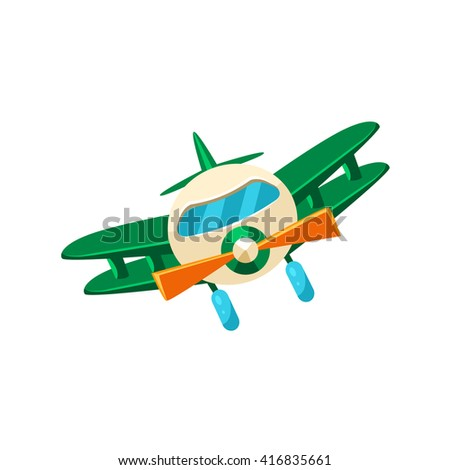 Biplane Toy Aircraft Glossy Vector Drawing In Childish Fun Style Isolated On White Background - stock vector