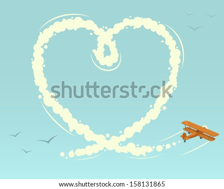 Biplane with heart shape. Vector illustration. - stock vector