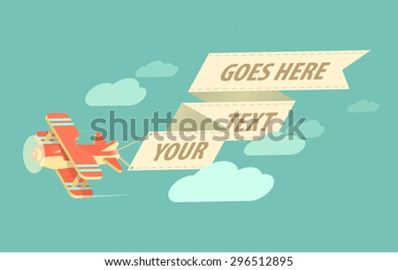 biplane with long banner on sky with clouds - stock vector