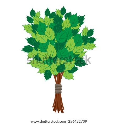 Birch broom for a steam room - stock vector