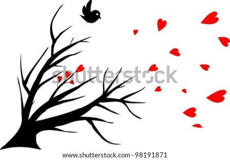 bird alone, symbol of a lost love - vector illustration - stock vector