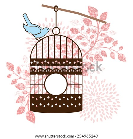 Bird and bird-cage leaves  - stock vector