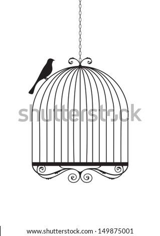 Bird and birdcage vector illustration. - stock vector