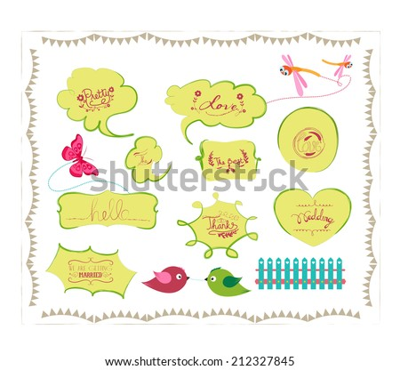 bird and butterfly bubbles set - stock vector