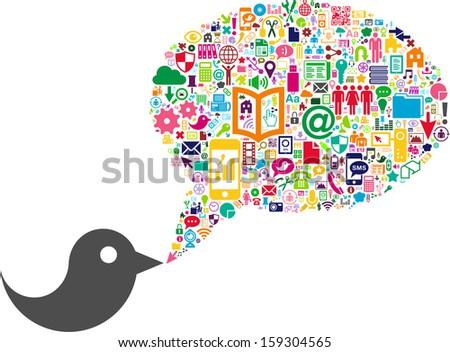 Bird and Conceptual Bubble-Speech made with Social Media icons - stock vector