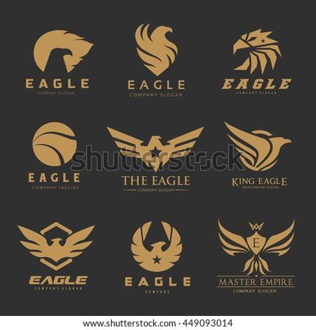 bird eagle logo collectionphoenix brandanimal logo stock