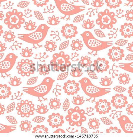 bird and flower seamless pattern  - stock vector