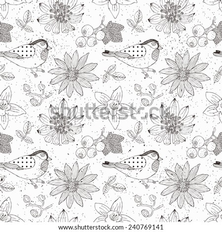 Bird and flower seamless pattern. Vector illustration. - stock vector