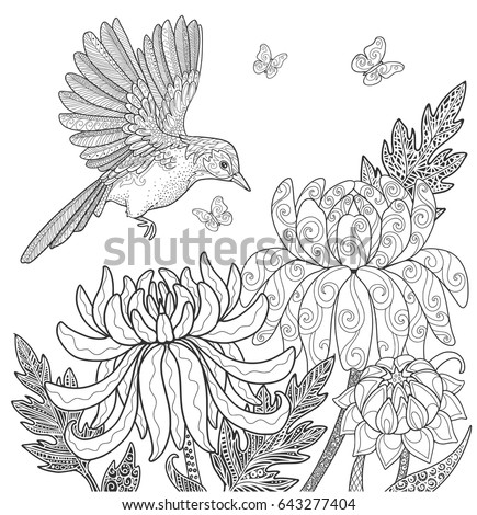 Bird And Flowers Butterfly In Garden Page For Adult Coloring Book Doodle Vector