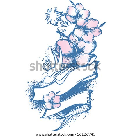bird and hibiscus whit ribbon composition - stock vector