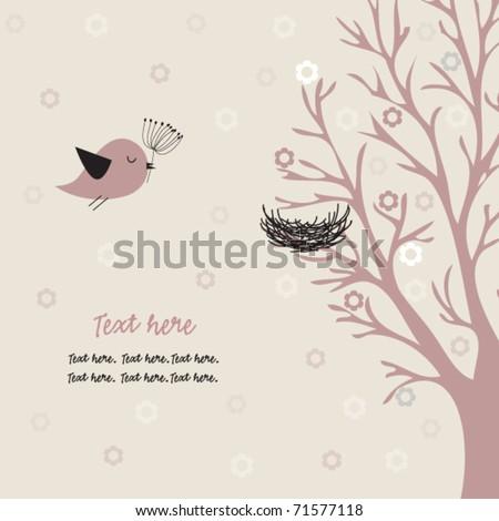 Bird and nest - stock vector