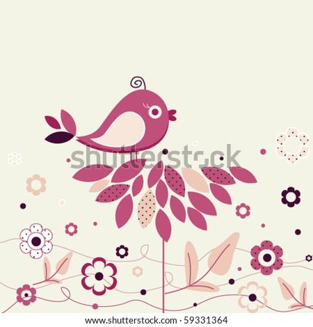 Bird and polka dot flowers - stock vector