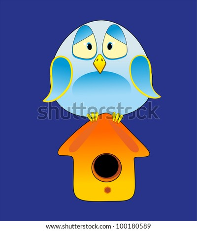Bird and starling house - stock vector