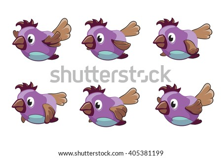 Bird animation vector frames. Animation bird, animal fly animation, cartoon animation sequence illustration - stock vector