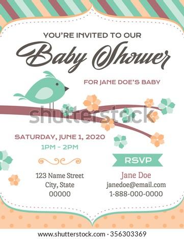 bird baby shower invitation
