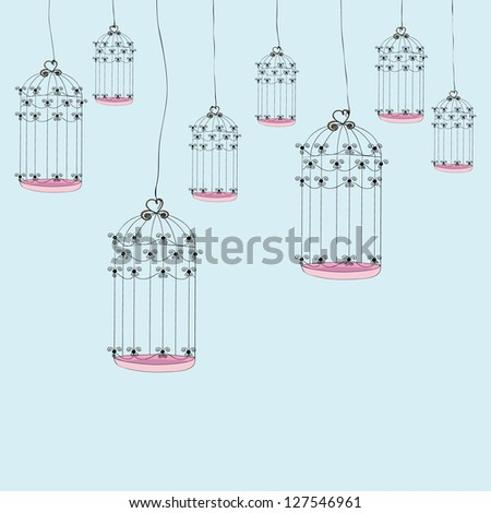 Bird cage background. Vector illustration layered for easy manipulation and custom coloring. - stock vector
