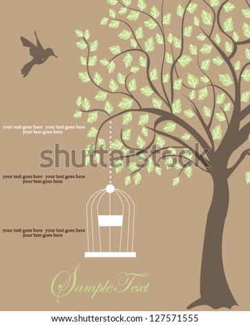 bird cage hanging from branch. invitation card - stock vector