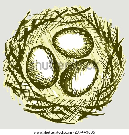 Bird eggs in a nest. Vector Image - stock vector