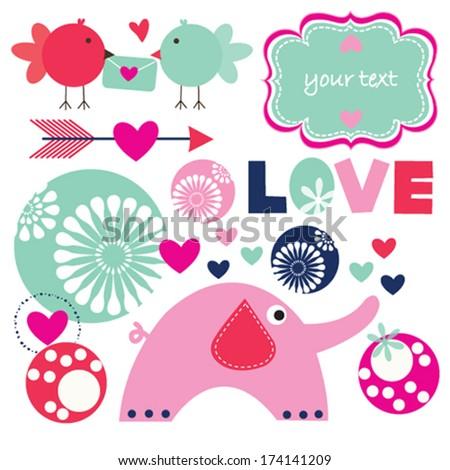 bird elephant invitation card vector illustration - stock vector