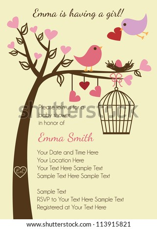 Bird Family Baby Shower Invitation Template - stock vector
