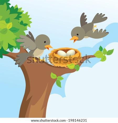 Bird family love - stock vector