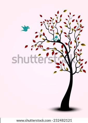 Bird family on the tree - stock vector