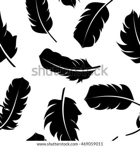 Bird Feather Hand Drawn Seamless Pattern Background Vector Illustration. EPS10