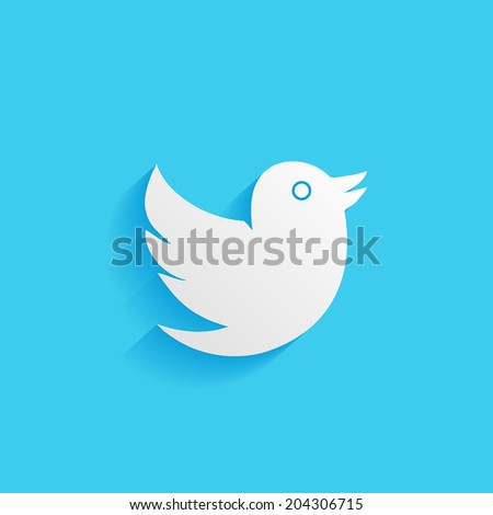bird, flat icon isolated on a blue background for your design, vector illustration