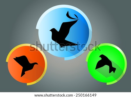 Bird. Flat icon with long shadow - stock vector