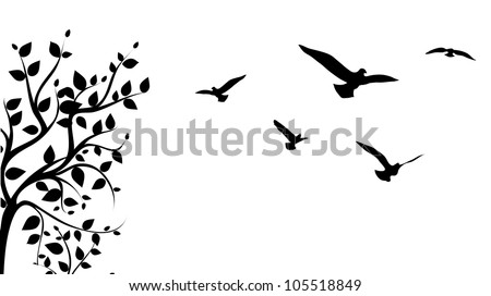 bird flying around a tree branch, vector - stock vector