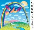 Bird flying under the rainbow - stock vector