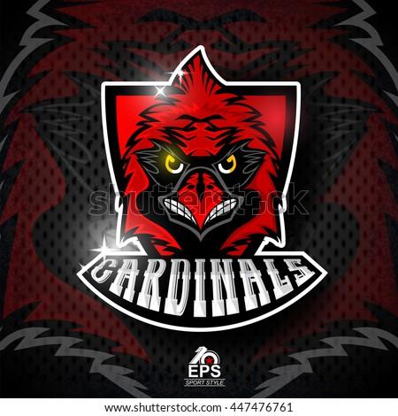 Bird head on red shield. Logo for any sport team cardinals - stock vector