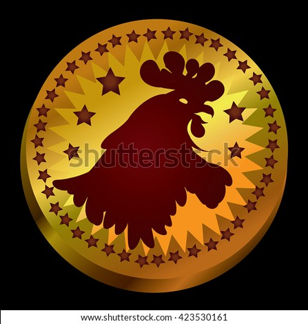 Bird head silhouette vector - illustration of gold coin with Rooster Head on it. Gamecock head icon on gold circle money with decoration of stars border. On black background. Eps 10. - stock vector