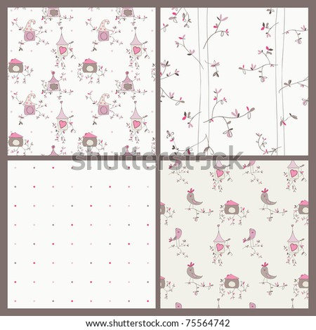 Bird House seamless background - set of 4 for your design or scrapbook - stock vector