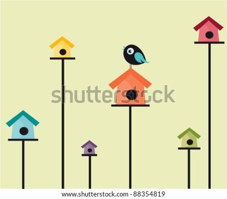 Bird Houses - stock vector