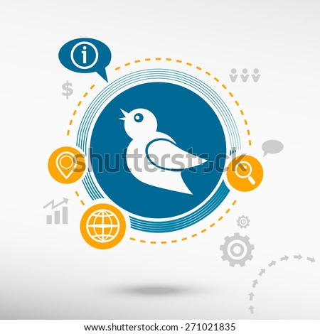 Bird Icon. Creative design elements. Flat design concept