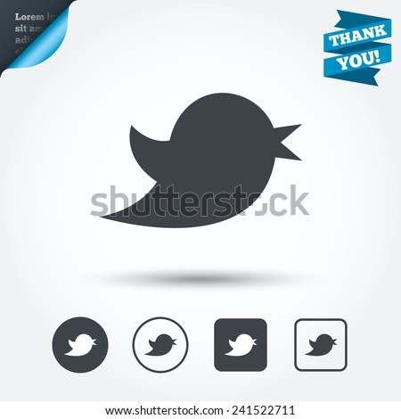 Bird icon. Social media sign. Short messages twitter symbol. Circle and square buttons. Flat design set. Thank you ribbon. Vector - stock vector